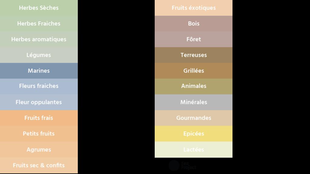 Tableau des notes et arômes détaillés du thé